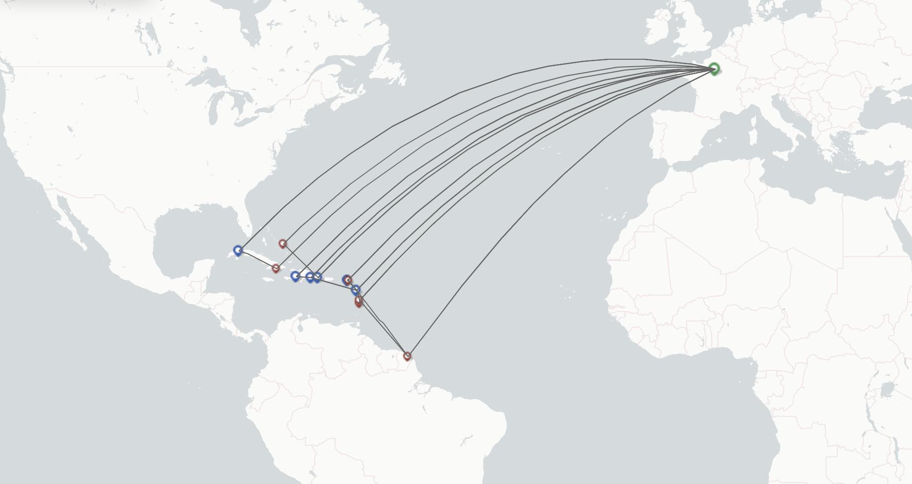 Air Caraibes route map