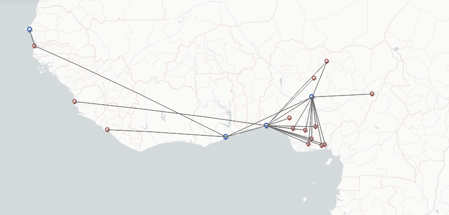 Air Peace Airline route map
