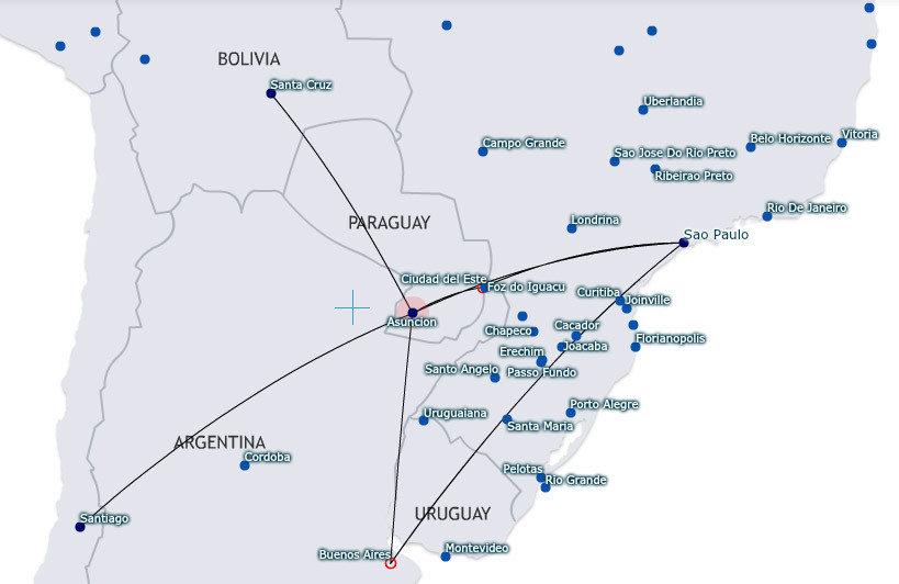 LATAM Airlines Paraguay route map