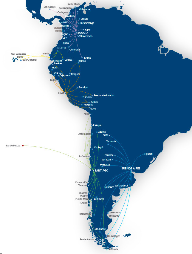 LATAM Airlines Peru route map
