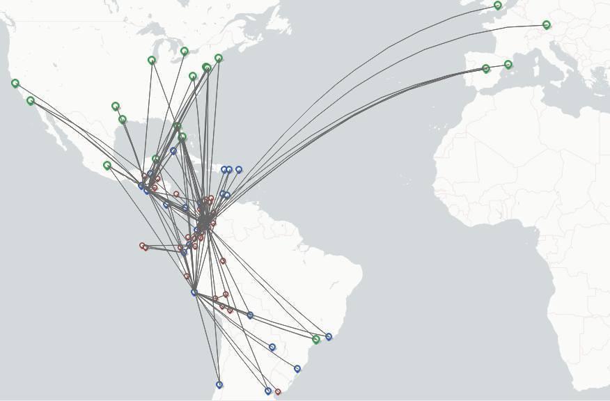 Avianca Ecuador Airlines route map