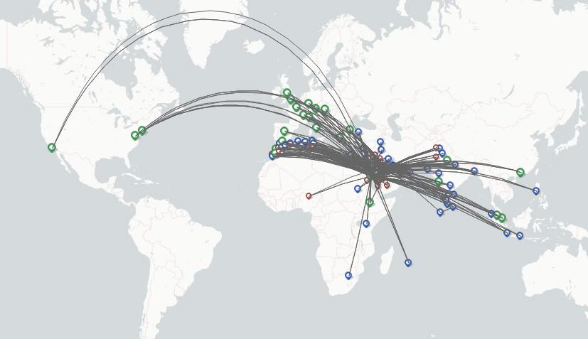 Saudi Arabian Airlines route map