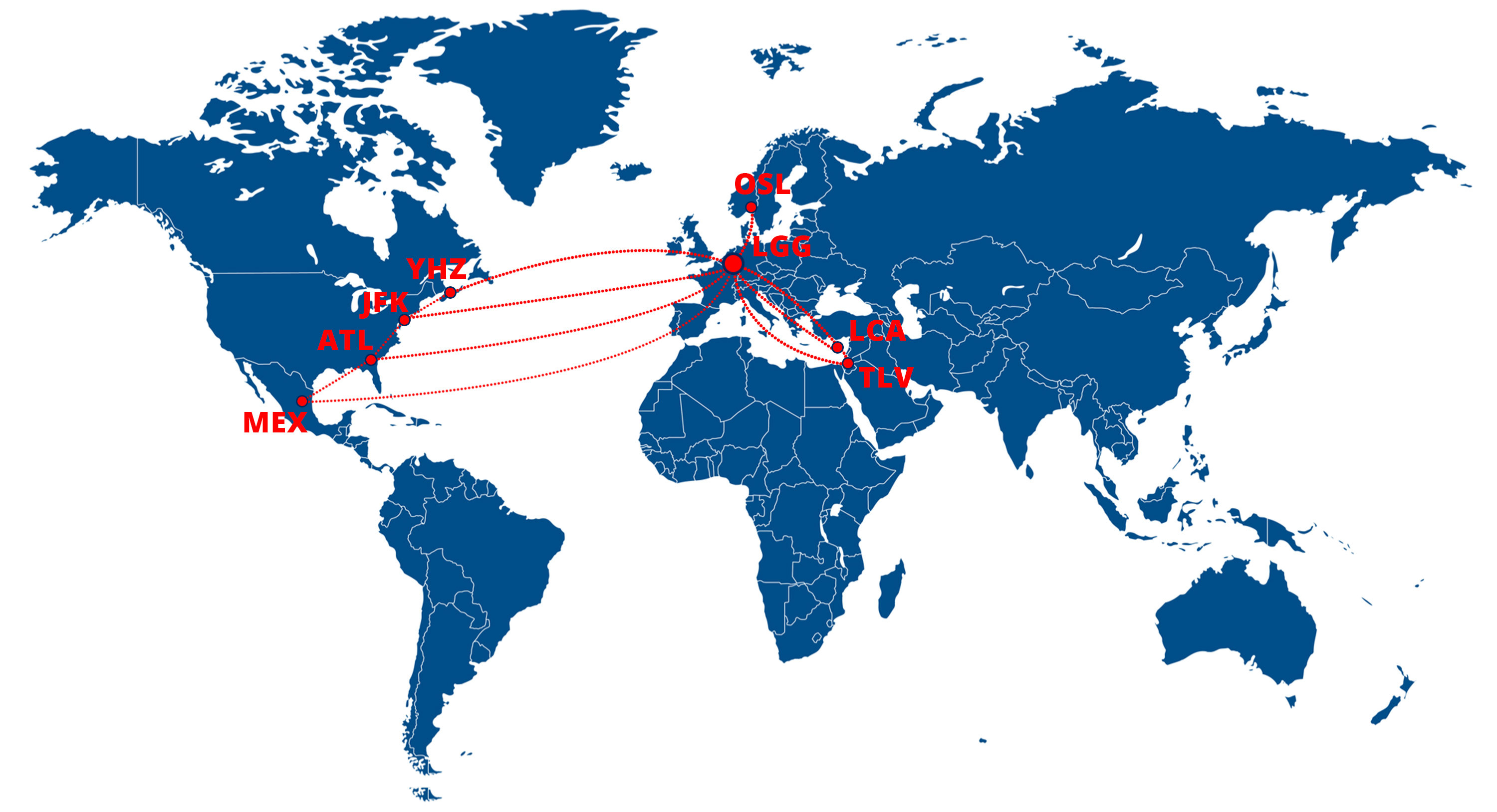 CAL Cargo Airlines route map