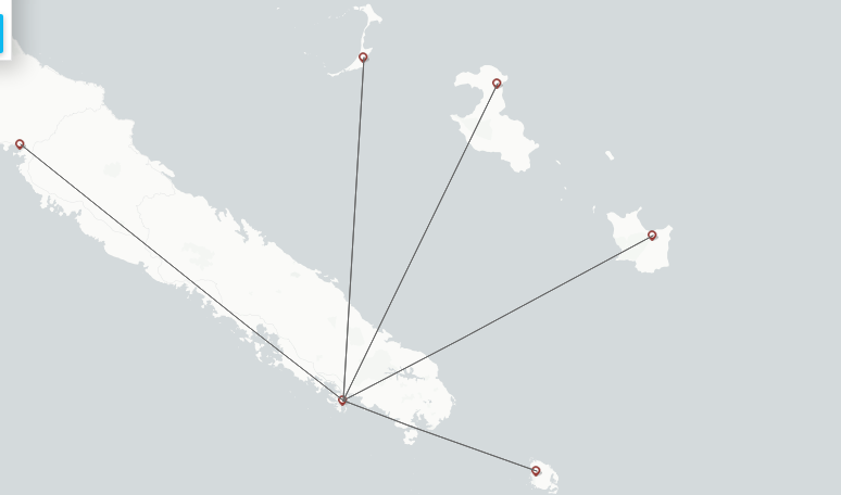 Air Caledonie route map