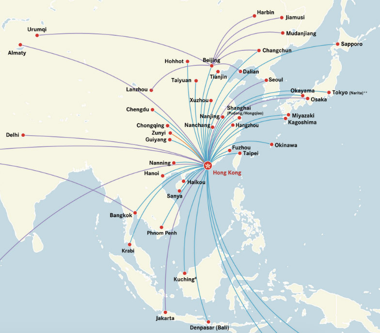 Hong Kong Express Airways route map