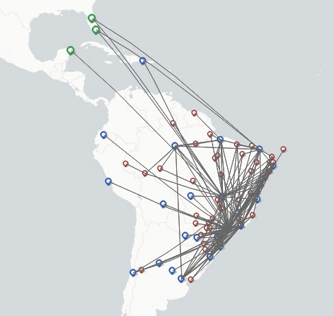 GOL Linhas Aereas Airlines route map