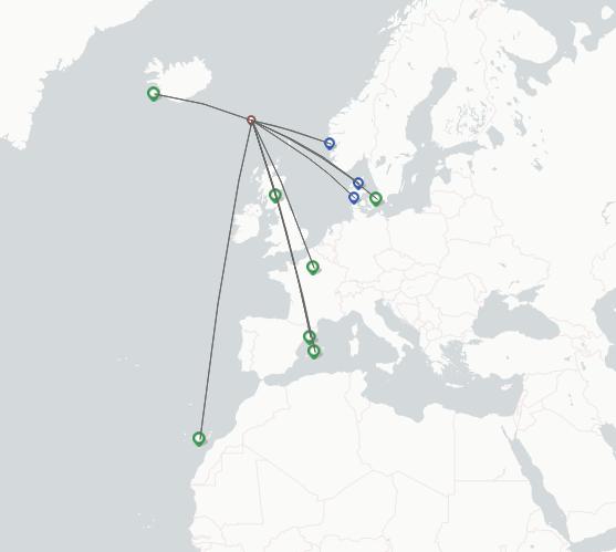 Atlantic Airways route map
