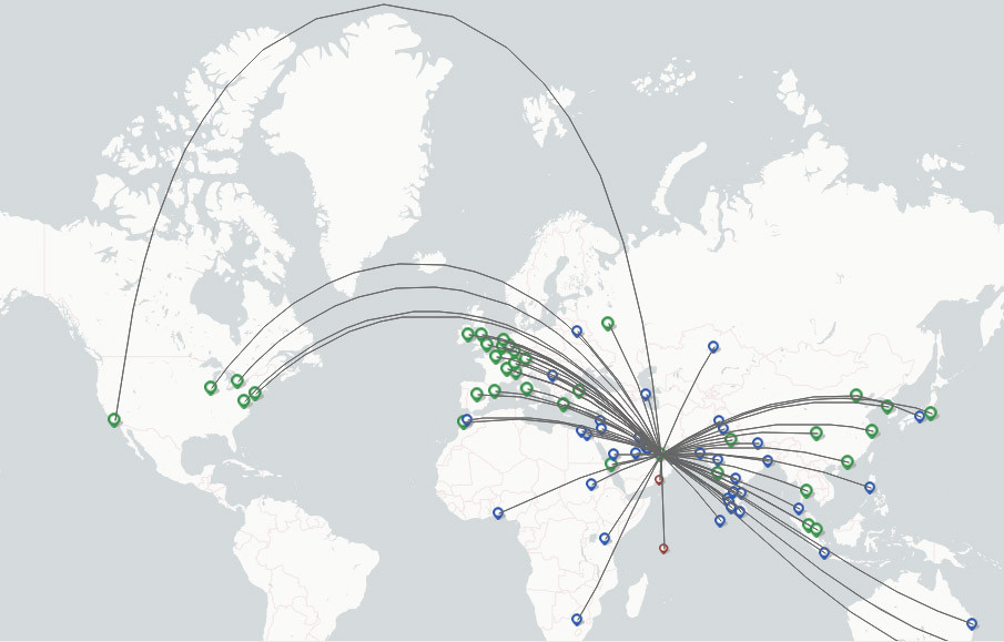 Etihad Airways route map