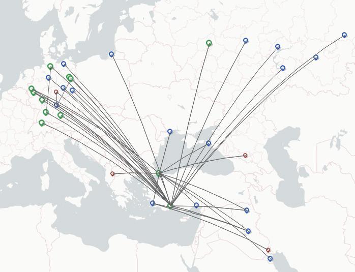 Onur Air route map
