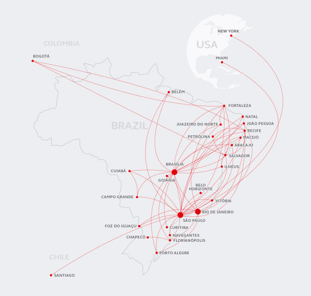 Avianca Brazil route map