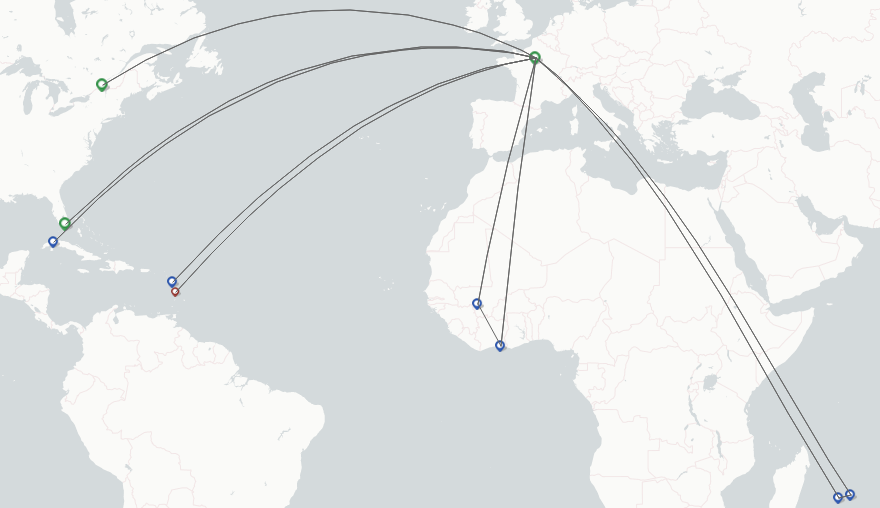Corsair International Airlines route map