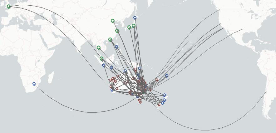 Qantas route map