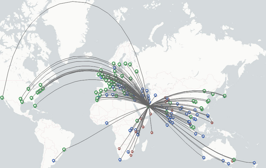 Qatar Airways route map