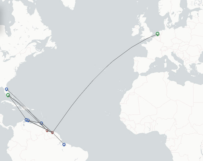 Surinam Airways route map