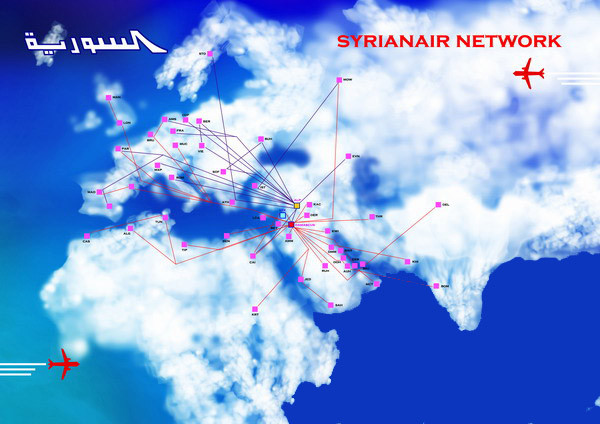 Syrian Air route map