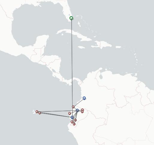 TAME Linea Aerea del Ecuador route map