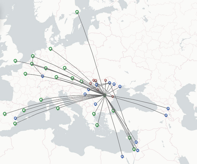 TAROM route map