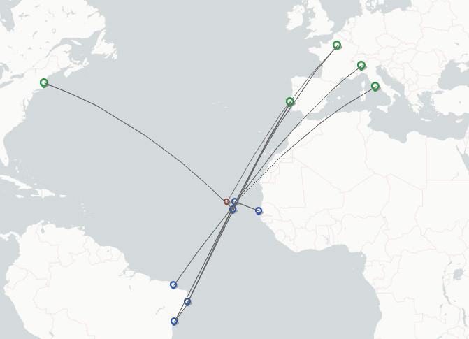 TACV Cabo Verde Airlines route map