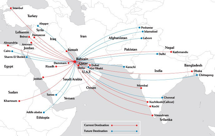 SaudiGulf Airlines route map