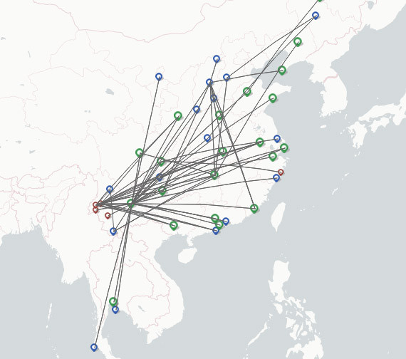 Kunming Airlines route map