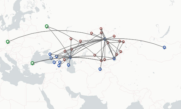 SCAT Airlines route map