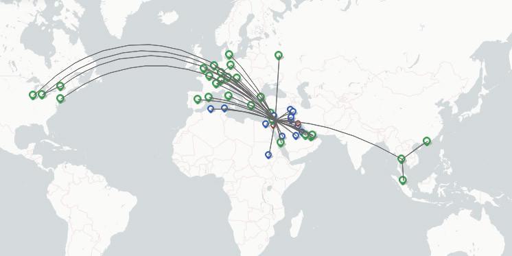 Royal Jordanian route map