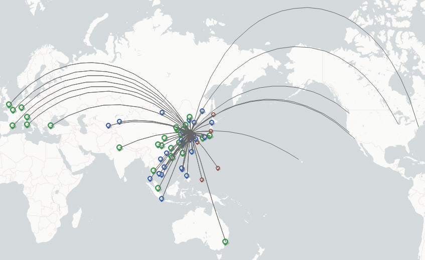 Asiana Airlines route map