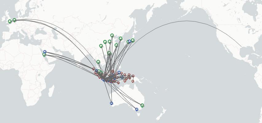 Garuda Indonesia route map