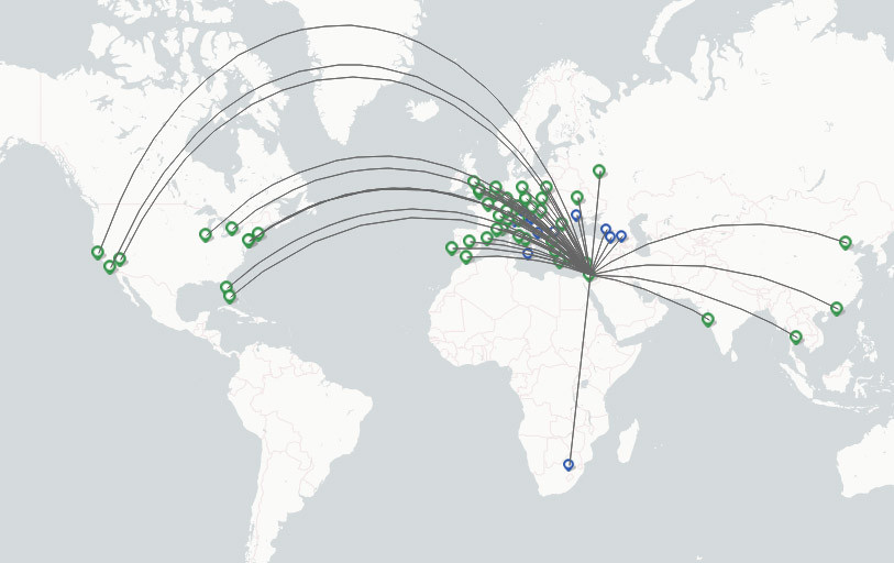 El Airlines route map