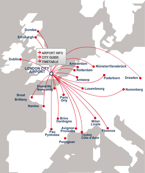 CityJet route map