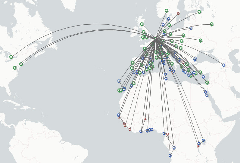 Brussels Airlines route map