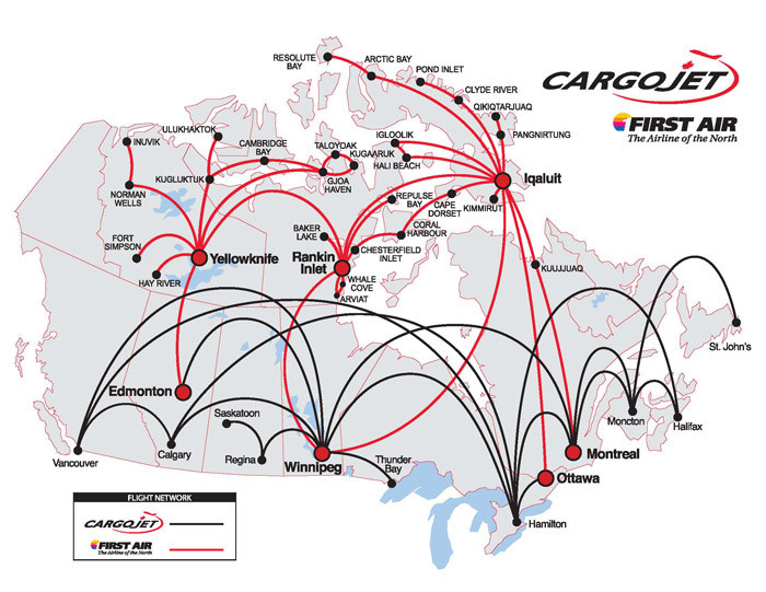 Cargojet Airways route map
