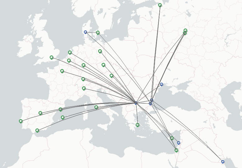 Bulgaria Air route map