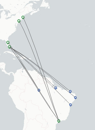 LATAM Airlines Brasil route map