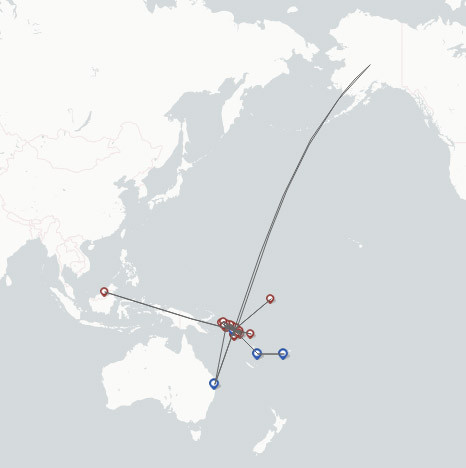 Solomon Airlines route map