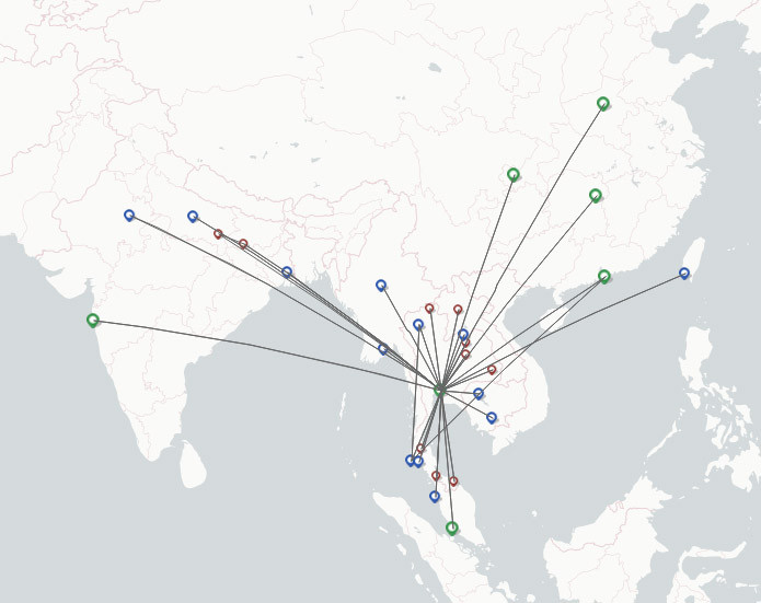 Thai Smile route map