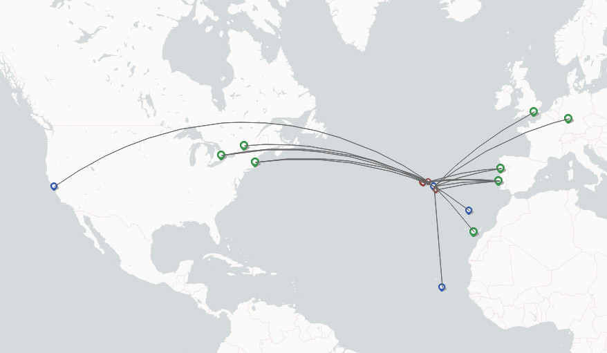 Azores airline route map