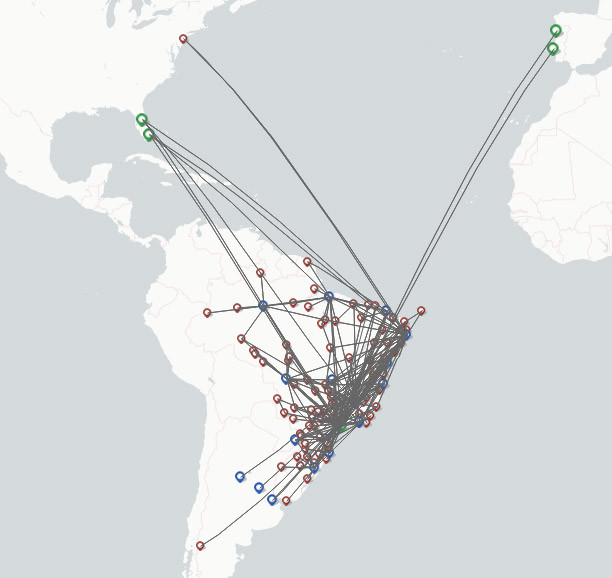 Azul Brazilian airlines route map