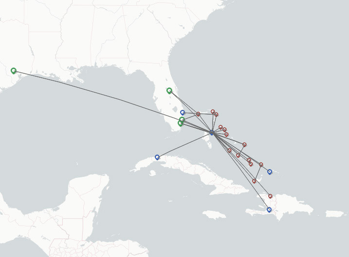 Bahamasair airline route map