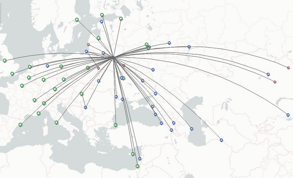 Belavia Belarusian Airlines route map