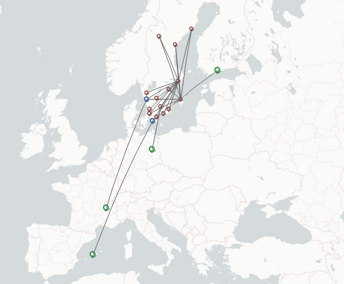 Braathens Regional Airlines route map