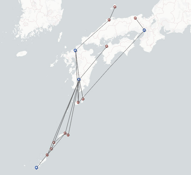 Japan Airlines JAL route map
