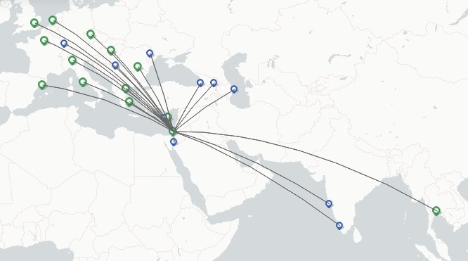 Arkia Israeli Airlines route map