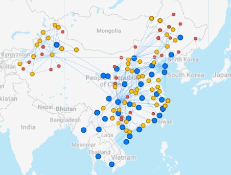 China Postal  Airlines route map