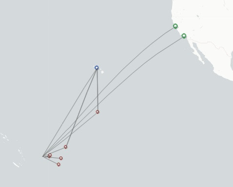 Fiji Airways route map