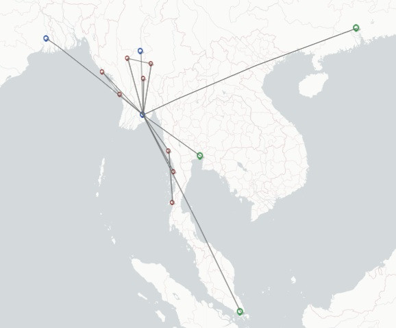 Myanmar Airways International route map