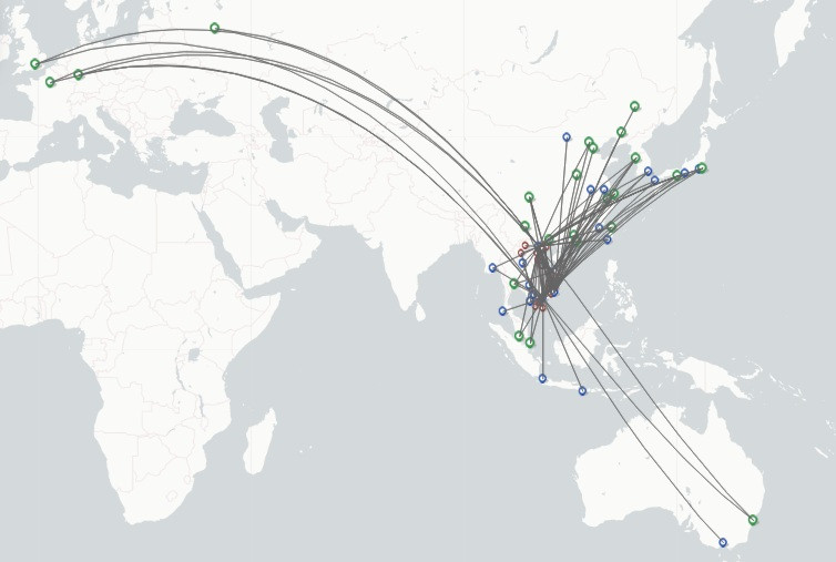 Vietnam Airlines route map