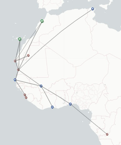 Mauritania Airlines International route map