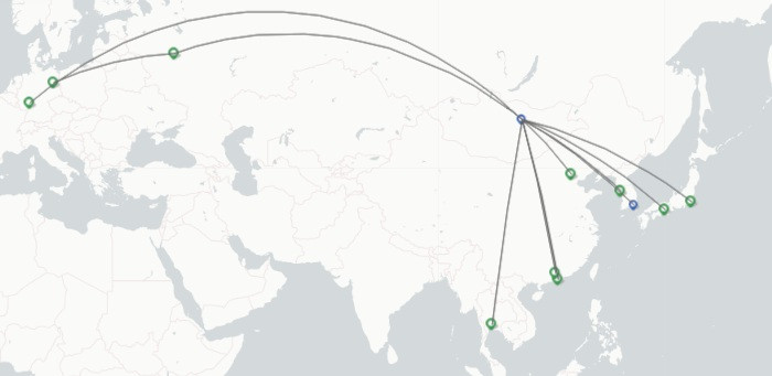 MIAT Mongolian Airlines route map